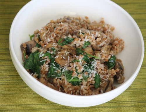 Cheesy Wheat Berries with Spinach and Mushrooms