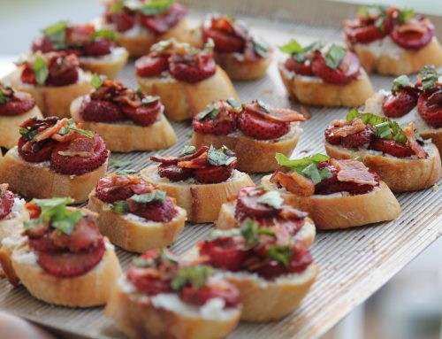 Roasted Strawberry Bruschetta With Goat Cheese & Bacon