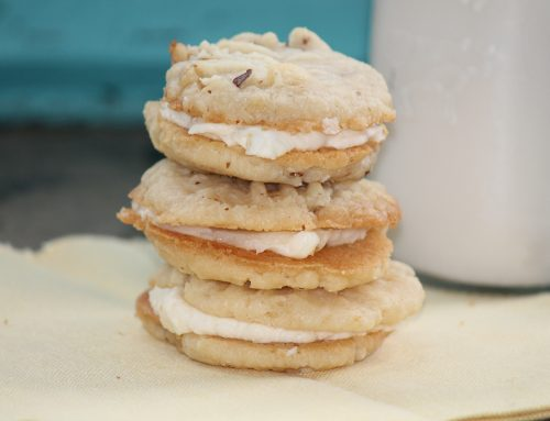 Vanilla Buttercream Filled Walnut Cookies