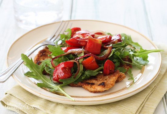 Baked-Chicken-Milanese-with-Arulua-and-Tomatoes-550x378