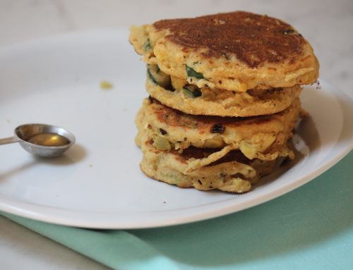 Zucchini and Corn Pancakes with Greek Yogurt and Honey
