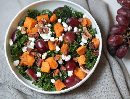 Mustard Kale Salad with Roasted Sweet Potatoes and Grapes