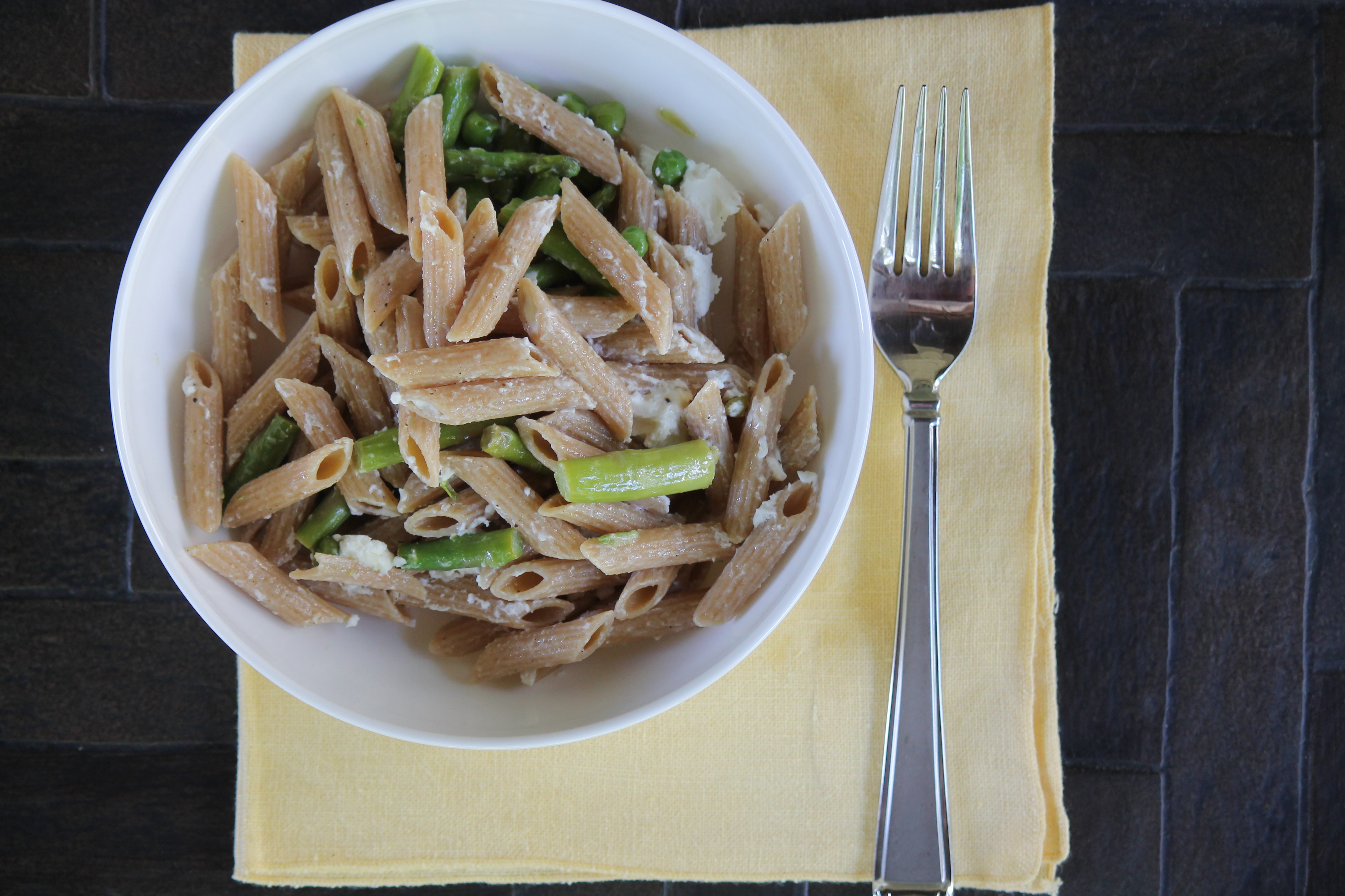 Asparagus and Goat Cheese Penne Pasta