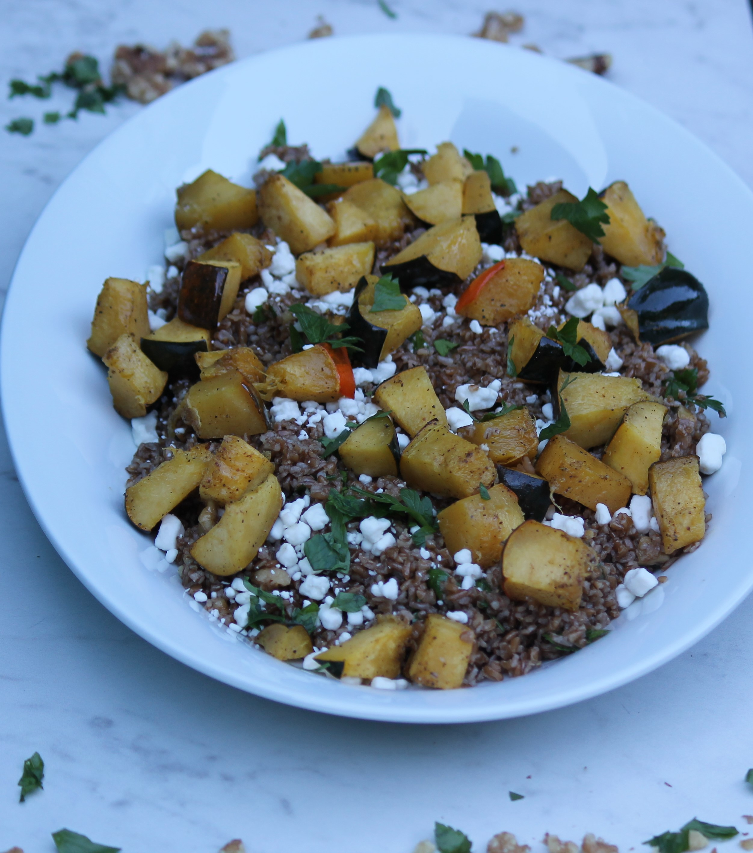 Roasted Squash with Bulgur and Walnuts