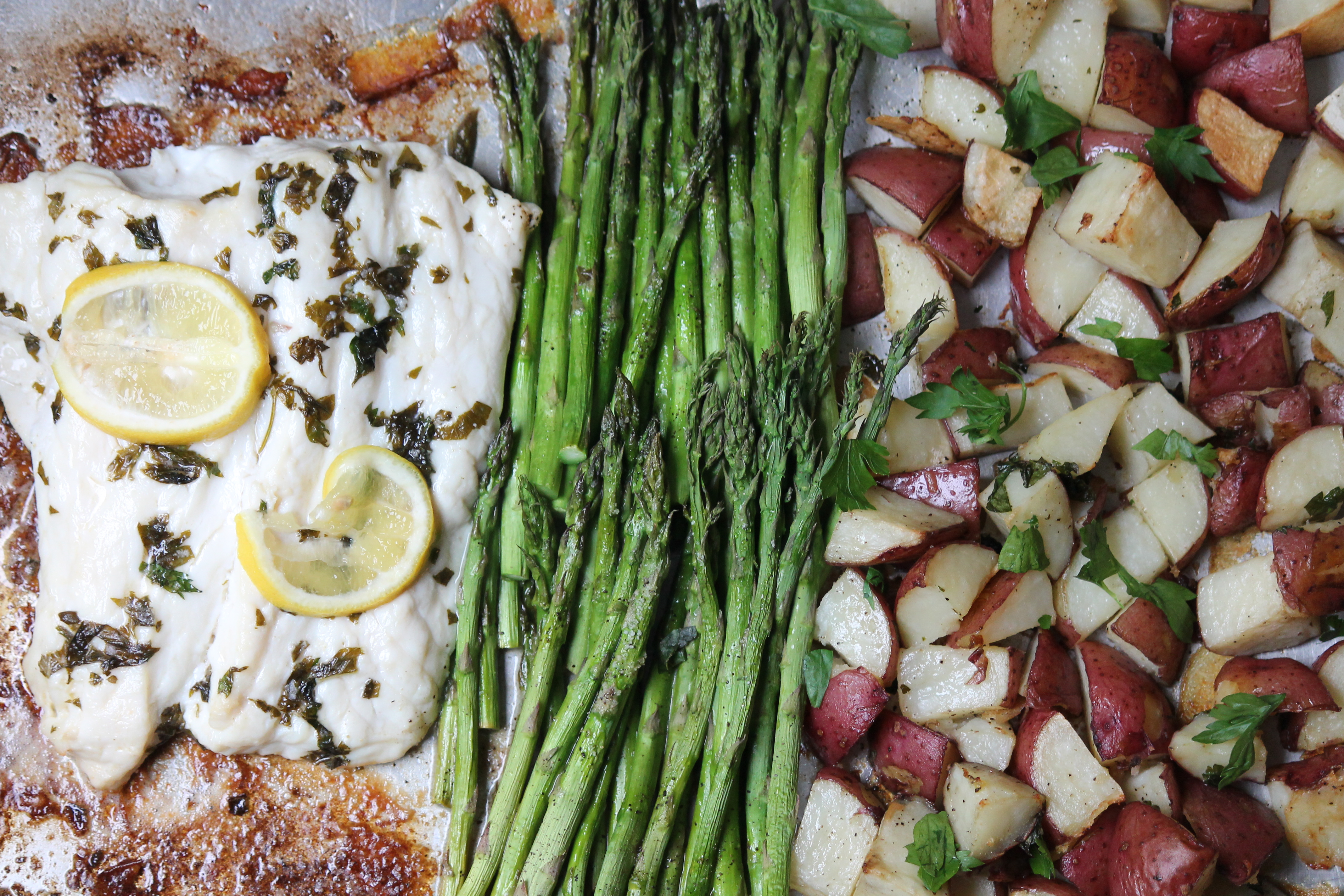 Sheet Pan Herb Crusted Halibut with Potatoes and Veggies