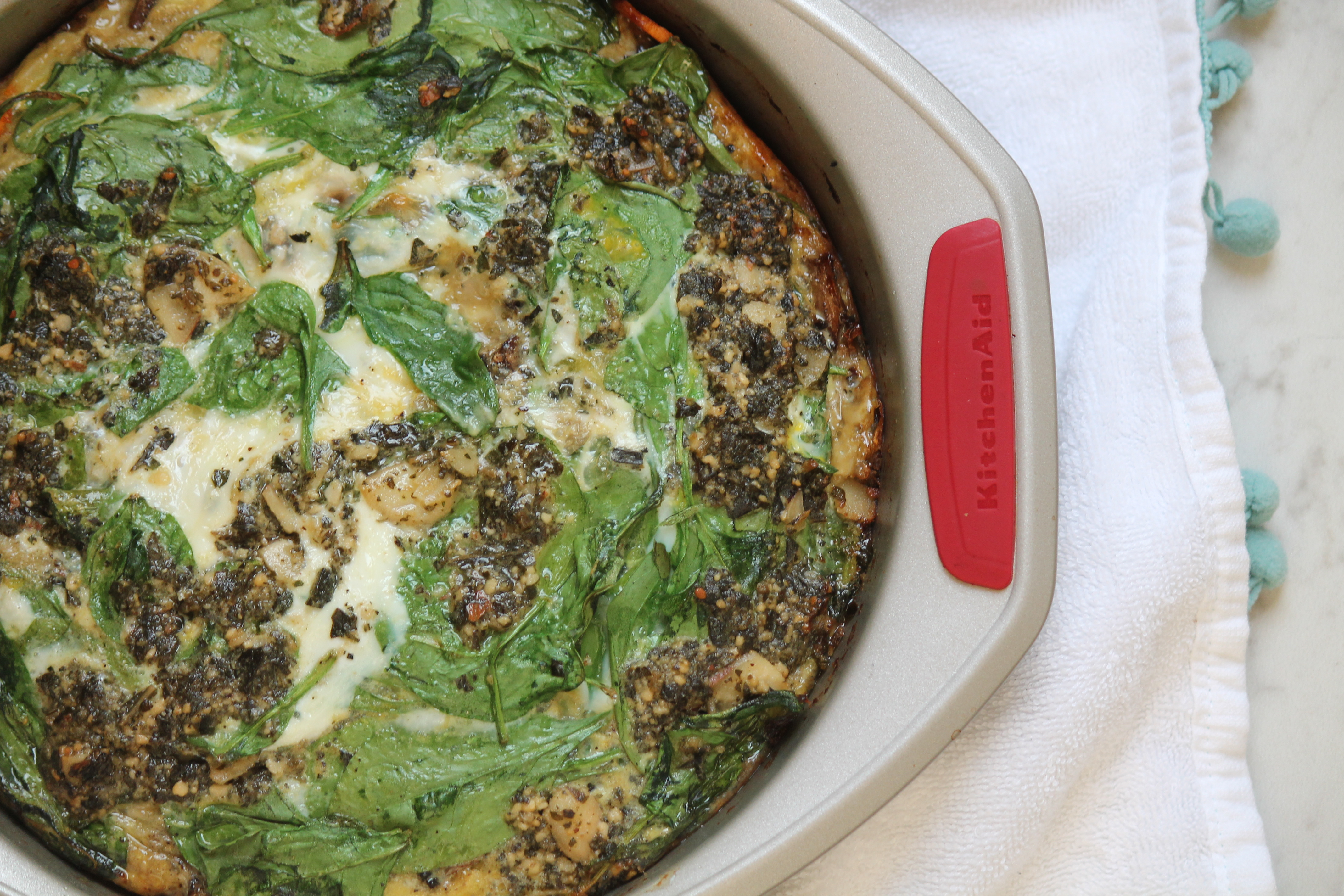 Mushroom and Spinach Quiche with Sweet Potato Crust